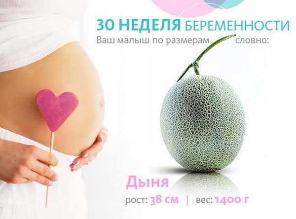 30 недель беременности вес и рост ребенка
