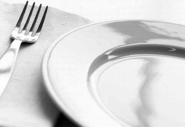 Пустая тарелка и вилка